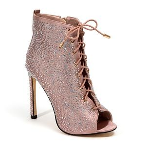 Rose Gold Rhinestone Lace Up Booties